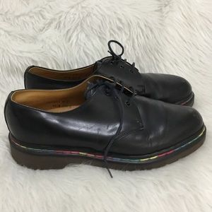 Dr. Martens black rainbow shoes made in England